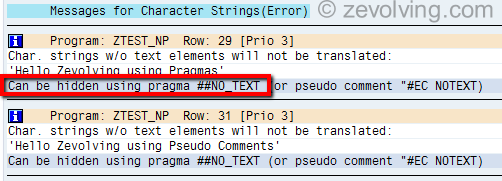 Pragmas Usage to hide Character String