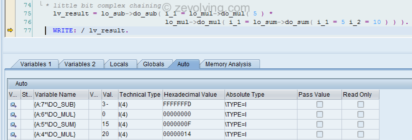 ABAP New debugger AUTO tab for method chaining