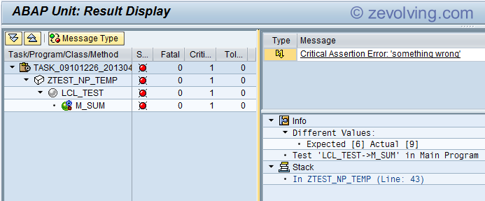 ABAP Unit Results Screen