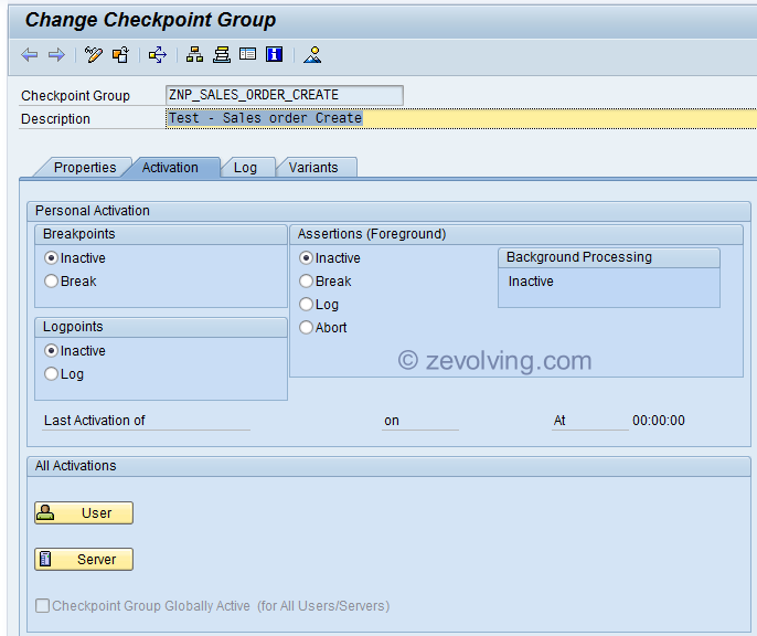 ABAP Checkpoint Group Activation