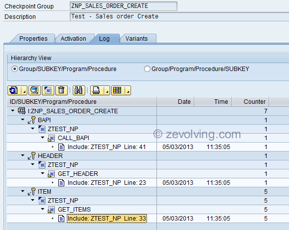 ABAP Check Point group SAAB Log Display