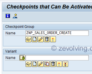 ABAP Checkpoint Group SAAB Initial Screen